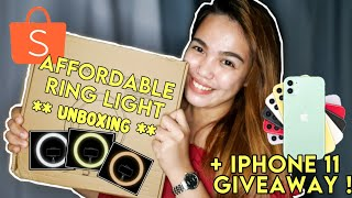 AFFORDABLE 26CM RING LIGHT FROM SHOPEE (UNBOXING + IPHONE 11 GIVEAWAY)