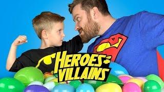Heroes & Villains Surprise Eggs Game w/Batman Toys, Spiderman Toys & Justice League Surprise Toys