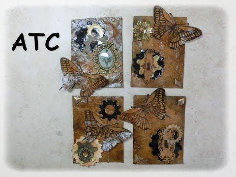 ♥ATC: Vintage et Steampunk avec l'effet vieux livre en cuir (glycérine) ATC Faux Leather