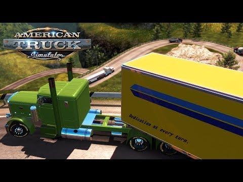 American Truck Simulator: Down dangerous switchbacks in a Pete 351 custom