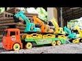 รถจิ๋วบรรทุกทราย ผ่านทางลอดอุโมงค์ รถแม็คโคร รถดั้ม รถตักดิน รถเทเลอร์บรรทุก Construction vehicles