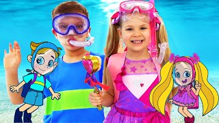 Diana and Roma Funny Swim Story Cartoon for Kids