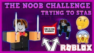THE NOOB CHALLENGE - HOW TO STAB (ROBLOX ASSASSIN STABBING GAMEPLAY) *PLAYING LIKE A BACON HAIR*