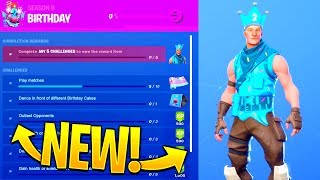 *LEAKED* Fortnite Birthday Challenges..! *FREE REWARDS* (Birthday Jonesy Skin)