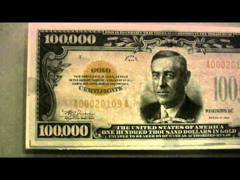 Real $100,000 bill cash money with Woodrow Wilson ... forget about Benjamins, it's all about Wilsons