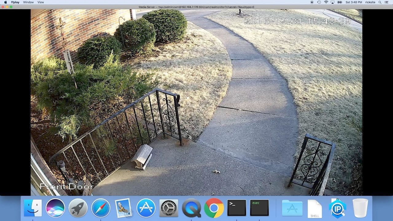 Create a Shortcut to an Amcrest IP Camera using ffmpeg on a Mac