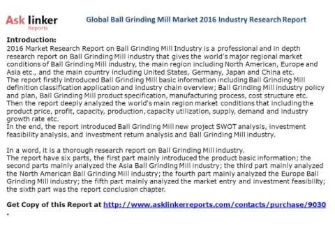 Global Ball Grinding Mill Market 2016 Industry Research
