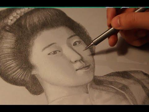 PORTRAIT OF A GEISHA - RITRATTO DI UNA GEISHA - SPEED DRAWING - HD 720p