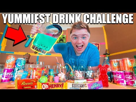 YUMMIEST DRINK IN THE WORLD CHALLENGE!! 😋🥤 Gummy, Nutella, Reese's Pieces, Mars Bar & More!!!