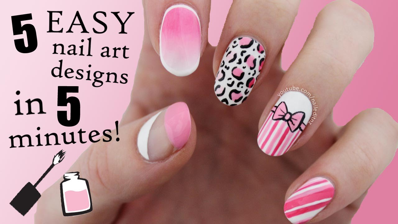 FIVE IN FIVE | Easy Pink Nail Art Designs | Nailed It NZ