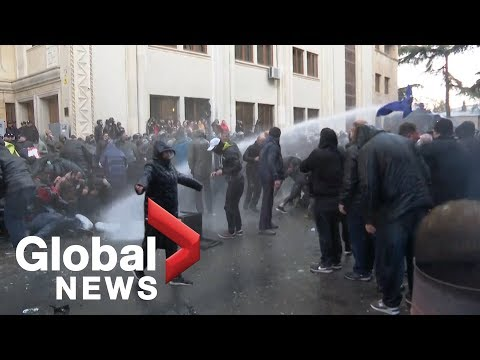 Georgia Police Use Water Cannons, Tear Gas In Attempt To Disperse Protesters Outside Parliament