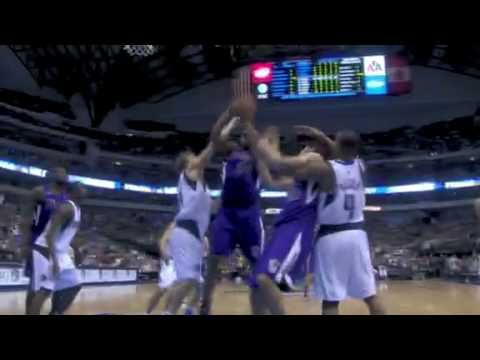 Dirk Nowitzki funny block on Carl Laundry vs Sacramento Kings