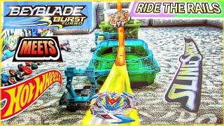 Beyblade Burst HOT WHEELS Crashing SlingShock Beystadium! Launching Beyblades on Hot Wheels Tracks