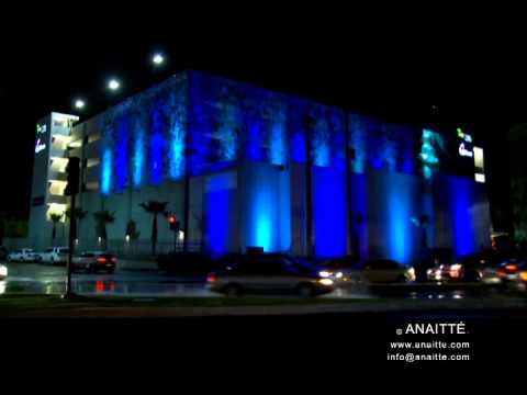Hyatt Place Bayamon parking garage graphics with projection lighting effects