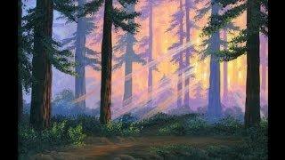 как рисовать закат в лесу с помощью холст акрил живопись  урок  искусство  класс  академия