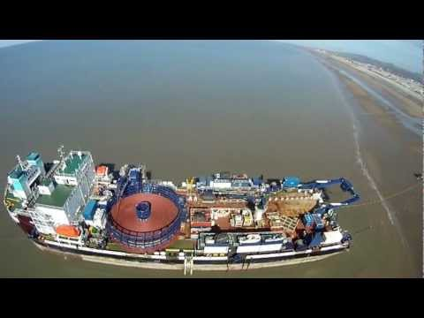 Pensarn Beach and cable laying boat