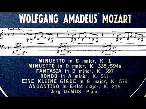 Mozart Jorg Demus 1962 Fantasia In D Minor K397 Full Piano Score