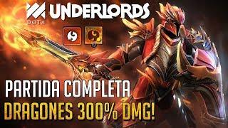 DRAGONES 300% DE DAÑO! INSANE DK! | PARTIDA COMPLETA | DOTA UNDERLORDS ESPAÑOL