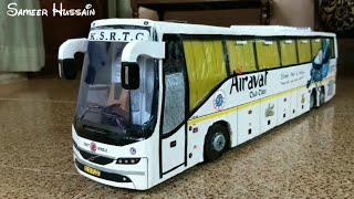 KSRTC AIRAVAT VOLVO B11R BUS MODEL 1:18 | VOLVO B11R 9400 BUS CARDBOARD MODEL | STEERABLE REAR AXLE