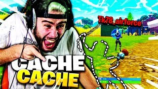 I USE THE INVISIBLE GLITCH IN CACHE CACHE WITH TK ON FORTNITE !!!