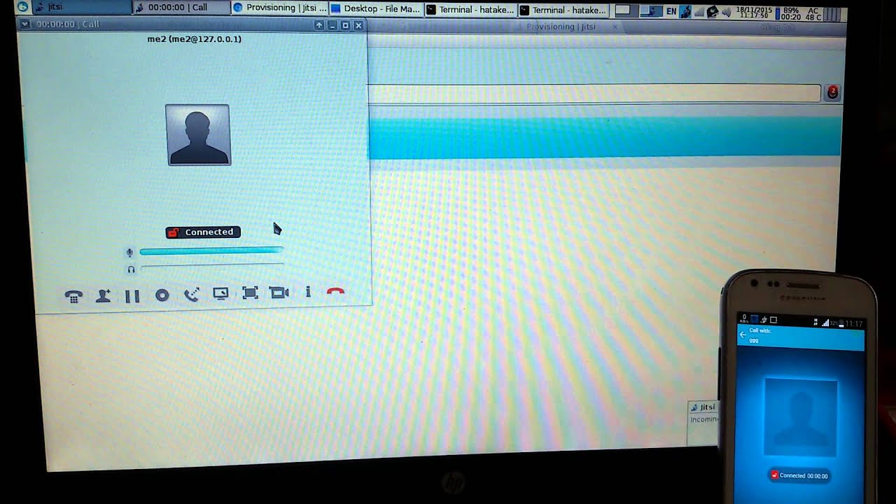Jitsi clients on phone and laptop demo over Asterisk server