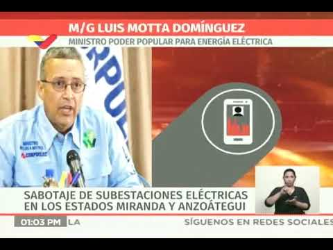 Ministro de Energía Eléctrica denuncia dos ataques a subestaciones en Venezuela