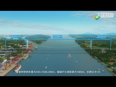Qipanzhou Yangtze River Bridge Animation棋盘洲长江大桥施工动画