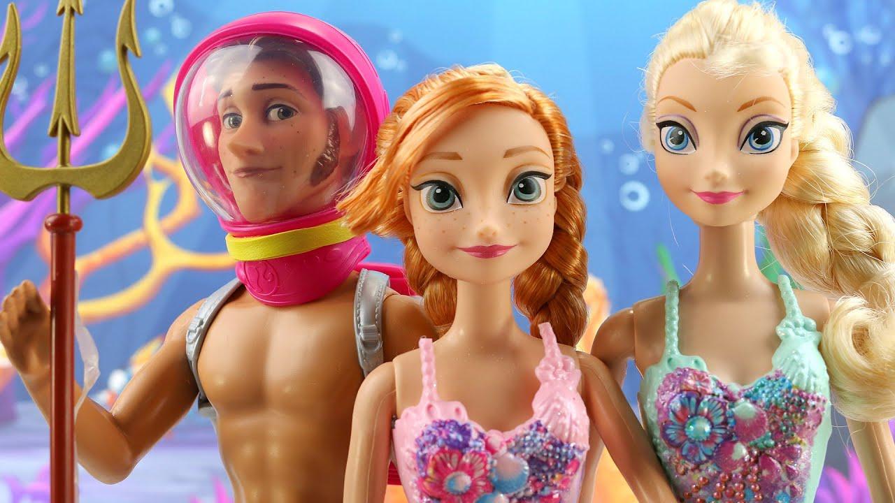 Frozen Elsa y Anna son Sirenas y Hans es el Rey En espaol  YouTube