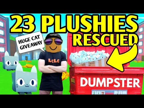 23 PLUSHIES RESCUED and I'm GIVING THEM ALL AWAY! Pet Simulator X (HOW TO GET A HUGE CAT)