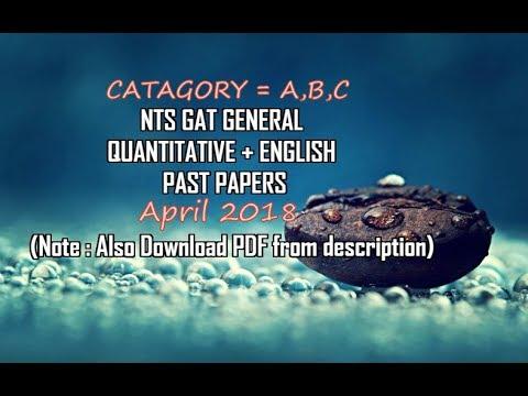 NTS GAT General April 2018 Past Papers +Download PDF given in description