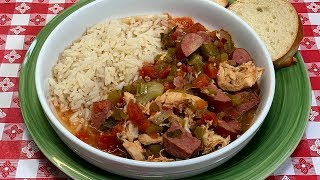 SLOW COOKER  CHICKEN & SAUSAGE GUMBO!! DUMP AND GO CROCK POT MEAL IDEA!!
