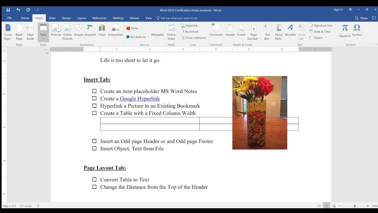 Insert & Draw Tab Word 2016 Notes