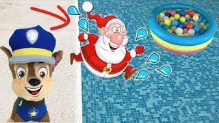 Paw patrol español:Papa Noel regalos sorpresa patrulla canina bebes! fiesta piscina gigante!Videos