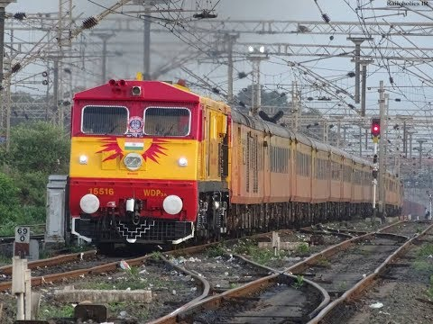 Tejas Livery Kalyan WDP3A #15516 With 22119 Mumbai CST - Karmali Tejas Express