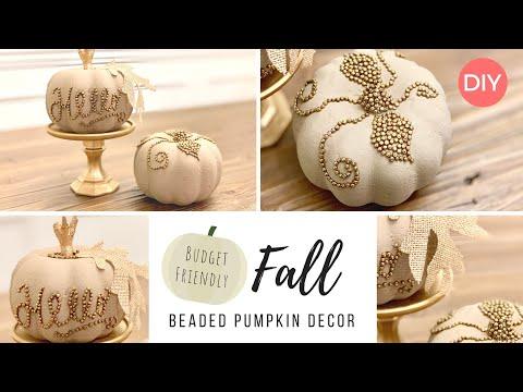 Beaded Pumpkin Decor   Dollar Tree DIY   Quick & Easy   Ashleigh Lauren