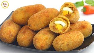 Potato Egg cutlet /Egg Chop /Aloo Kebab/ Egg Roll Recipe for kids, Tiffin box | Dim Chop | Egg Devil
