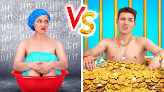 RICH JAIL VS BROKE JAIL  Funny Situations At Home Prison! DIY Sneaking Food Ideas By 123GO! TRENDS