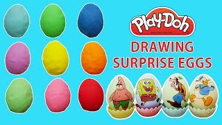 Play doh Surprise Eggs Drawing Mickey Mouse and Friends & Spongebob squarepants