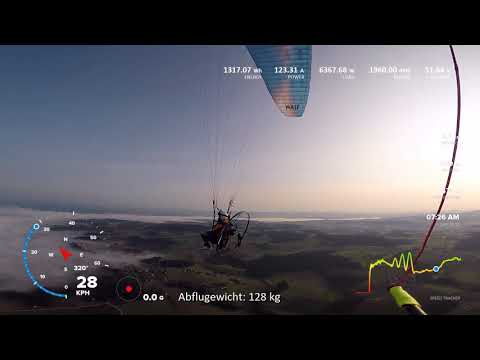 electric paramotor uncut flight. e-ppg paraglider motorschirmfliegen chase cam from side