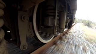 A train wheel running on a jointed track