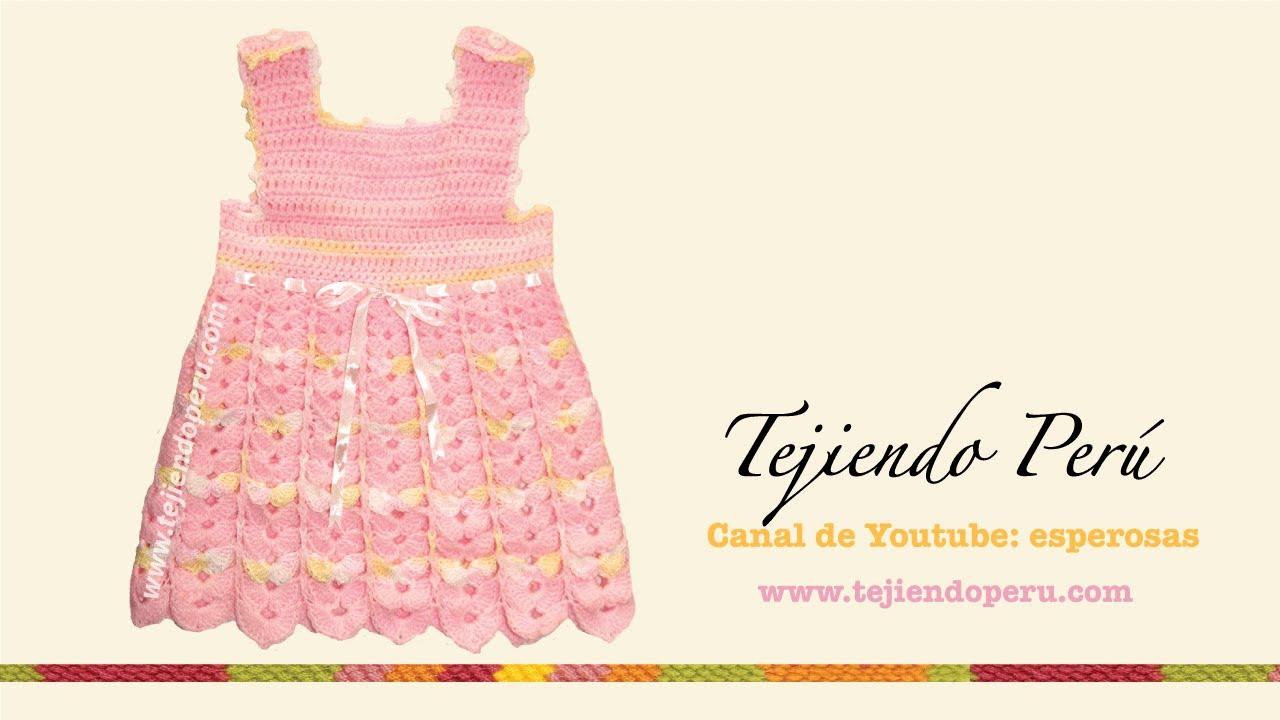 efd260abd Vestido para bebe de 0 a 3 meses - Tejiendo Perú