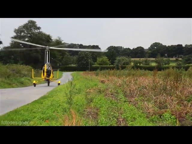 Gyrocopter Außenstart nach einer Sicherheitslandung - gyrocopter off field landing