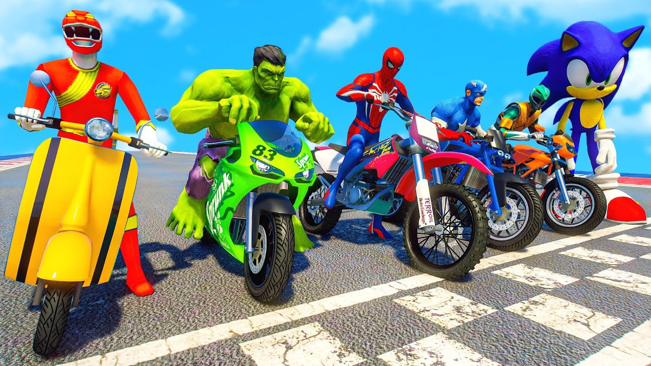 Download SPIDERMAN & POWER RANGERS w/ ALL SUPERHEROES Racing Motorcycles Event Day Competition Challenge #111