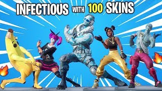 Fortnite Infectious Emote Dance BUT With 100 Skins New Skins On Every Beats
