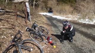 旗立峠雪中サイクリング2017