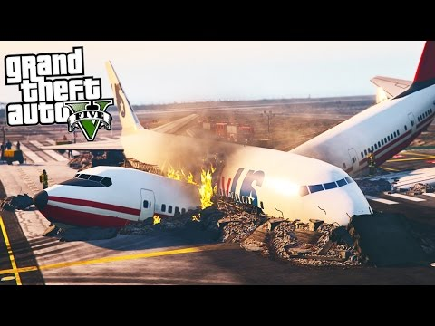 GTA 5 Plane Crash - PLANE CUTS OTHER PLANE IN HALF! (GTA 5 POLICE MOD)