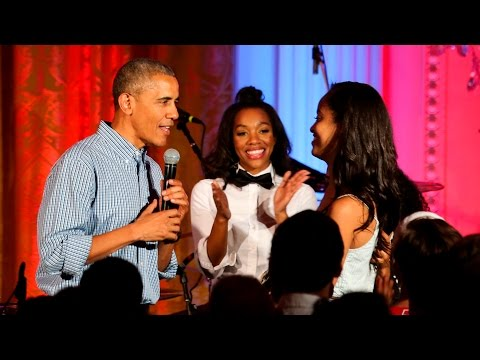 President Obama, Kendrick Lamar and Janelle Monáe sing 'Happy Birthday' to his daughter