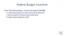 Federal Government First Time Buyer Incentive