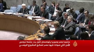 مندوبا مصر وسوريا يتهامسان قبل التصويت لصالح المشروع الروسي