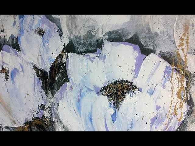 Blumen malen-Spachtel-ganz einfach/ Painting flowers-Palette knife-easy/V125
